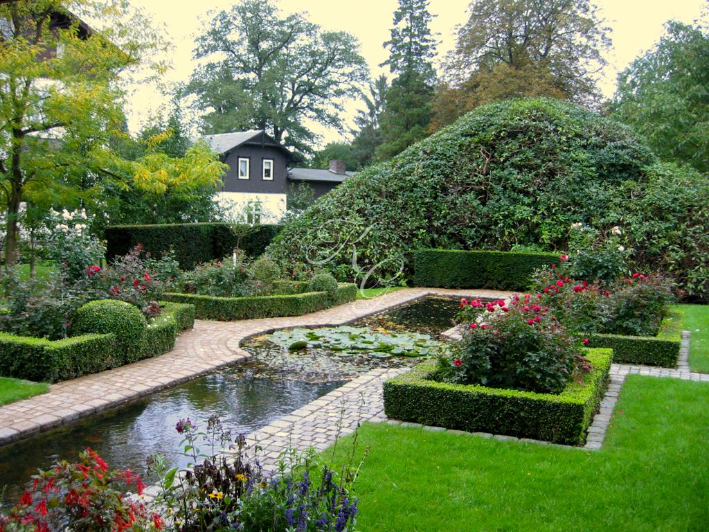 Teichanlage mit Seerosen und Rosenbeeten